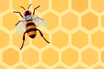 Cartoon of a honey bee with a QR code on its back.