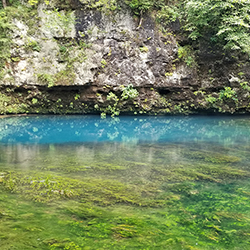 Photo of clear spring water with a turquoise band along the shore.