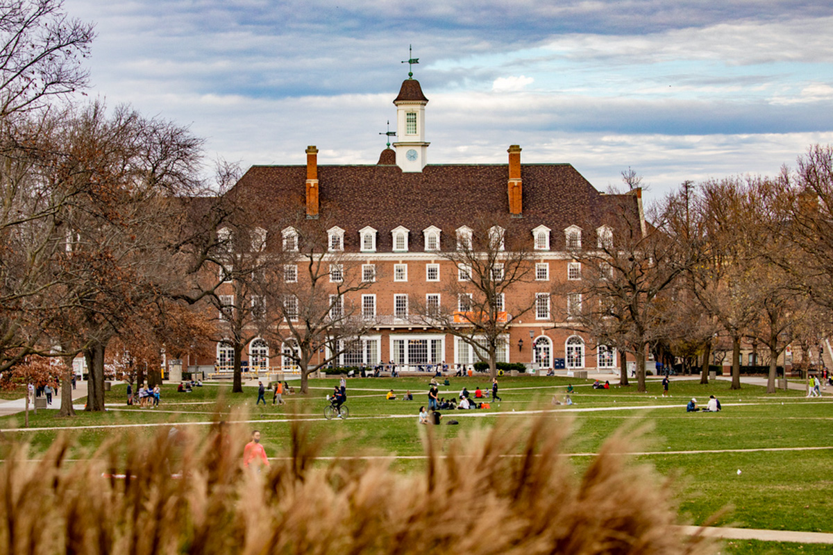 View of Main Quad with Illini Union in background