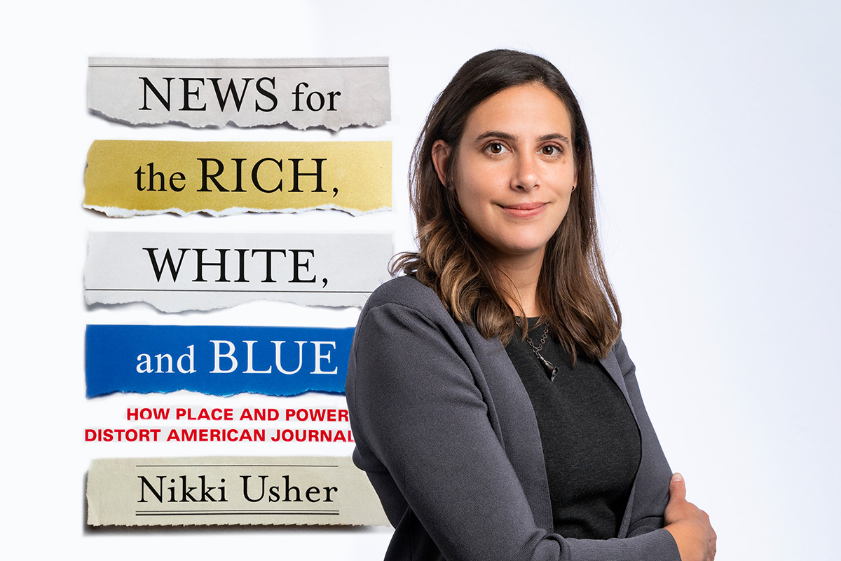 Photo illustration of Dr. Nikki Usher and her new book.