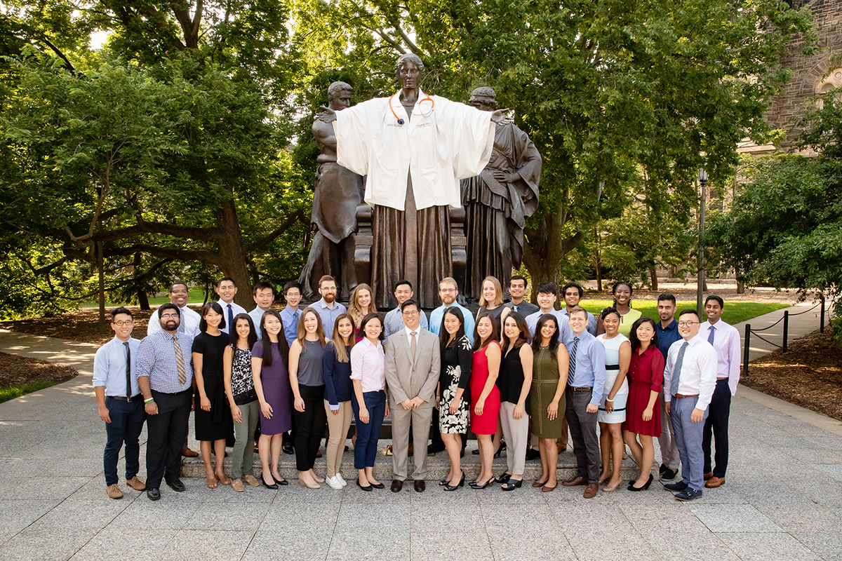 The first class of students at the Carle Illinois College of Medicine in 2018 joined Dr. King Li, front center, the dean of Carle Illinois.
