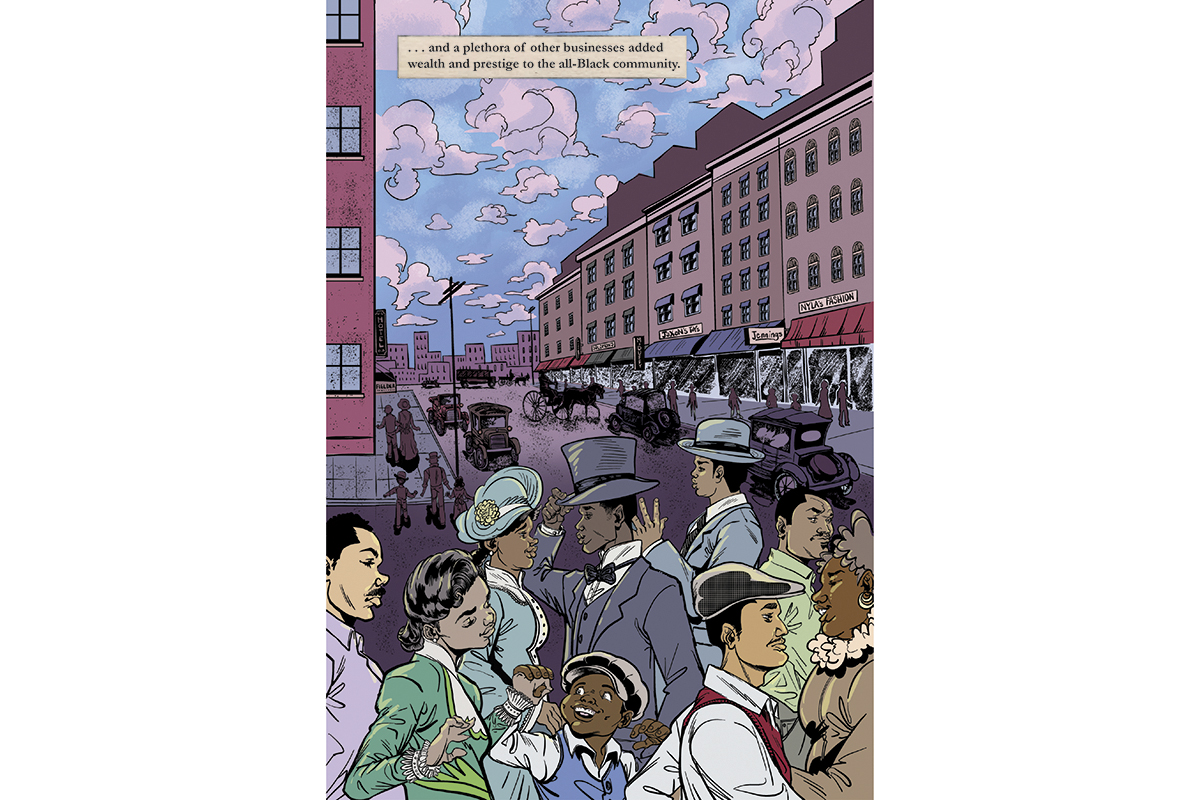 Panel from graphic novel showing well-dressed Black residents on a busy city street.
