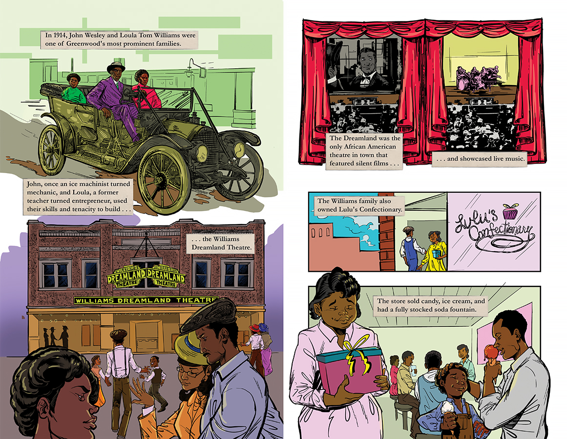 Two panels from a graphic novel showing Black-owned businesses.