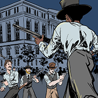 Panel from graphic novel showing armed men crossing railroad tracks and confronting other armed men.