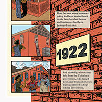 Panel from graphic novel depicting laying bricks to construct a brick building.