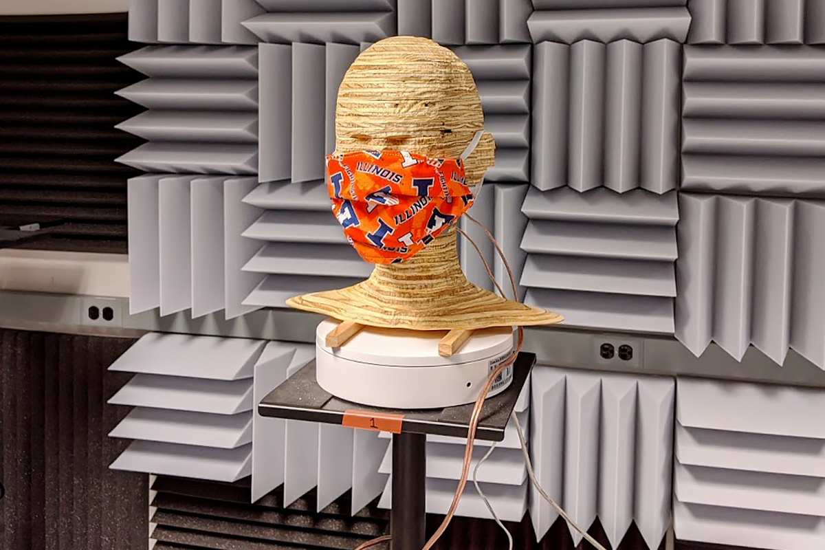 Masks are an important tool for fighting COVID-19 but wearing one can make it difficult for others to hear us speak. Using a unique laboratory setup, Illinois researcher Ryan Corey tested how different types of masks affect the acoustics of speech.