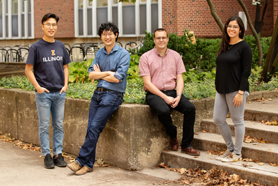 Illinois engineers Kwiyong Kim, left, Xiao Su, Johannes Elbert and Paola Baldaguez Medina are part of a team that developed a new polymer electrode device that can capture and destroy PFAS contaminants present in water.