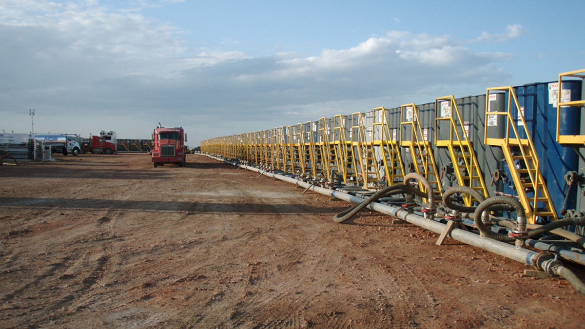 Water tanks preparing for a hydraulic fracturing operation.