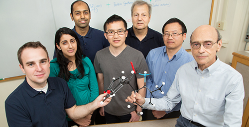 Researchers have developed a new drug that kills estrogen receptor-positive cancers in mice. The team, from left, includes M.D./Ph.D students Neal Andruska, Lily Mahapatra and Mathew Cherian; graduate student Xiaobin Zheng; food science and human nutrition professor William Helferich; research scientist Chengjian Mao; and biochemistry professor David Shapiro.