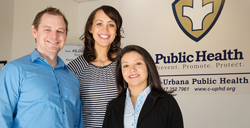 Perinatal depression screenings will be available electronically to Champaign-Urbana Public Health clients through a collaborative project led by social work professor Karen M. Tabb Dina, center. Shown with Tabb Dina are co-authors Brandon Meline, director of maternal and child health management at CUPHD; and graduate student Maria Pineros-Leano.