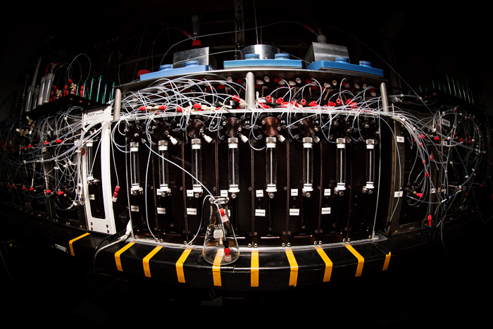 A machine in University of Illinois chemistry professor Martin Burke's lab assembles complex small molecules out of simple chemical building blocks, like a 3-D printer on the molecular level.