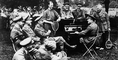 The Dumbells, Third Canadian Divisional Concert Party, rehearsing in a field in France in 1917.