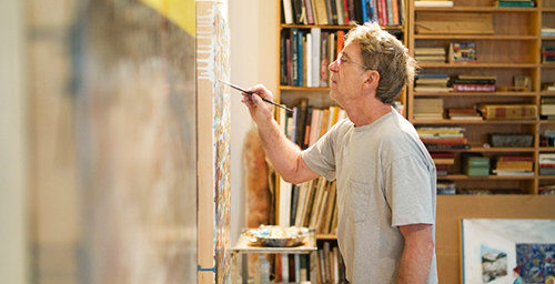 Artist William Wegman, a University of Illinois alumnus, works in his studio. Wegman's work includes painting, drawing, photography and video. He'll visit the U. of I. campus on March 5, when he'll speak at Krannert Art Museum.