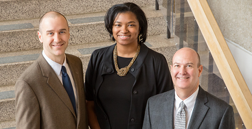 Half as many girls in Illinois are preparing for careers in STEM, according to a study by, from left, curriculum specialist Joel Malin, doctoral student Asia Fuller Hamilton, and director Donald Hackmann of the Pathways Resource Center.