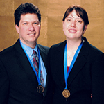 Meagan Hennessey, right, and Richard Martin after receiving their 2006 Grammy Award for Best Historical Album.