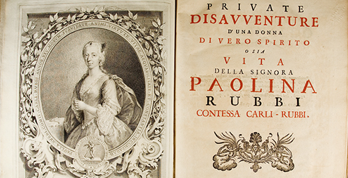 The title page and engraved portrait from a book from the Rare Book and Manuscript Library's Cavagna Collection. The book, from 1750, is one of only two known copies. It describes a famous Italian medical malpractice case of the time.