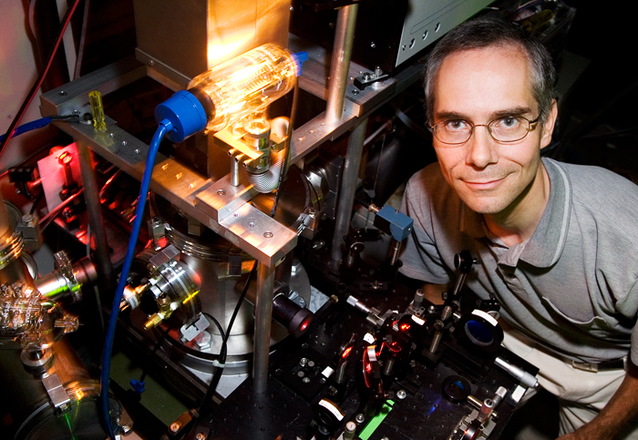 Professor Martin Gruebele led a team that developed a way to watch how unfolded proteins move through a cell using a fluorescent microscope and three-dimensional diffusion modeling.