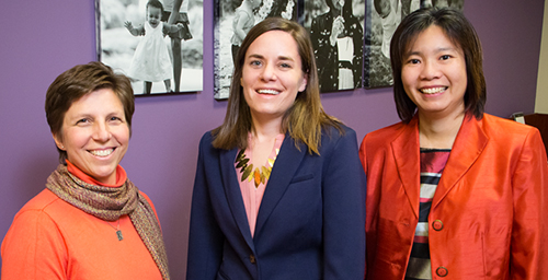 Preschoolers of working moms get less sleep, which may explain why these children are at greater risk of becoming overweight, according to a new study by (from left) Janet M. Liechty, professor of medicine and social work; Katherine E. Speirs, postdoctoral research associate in human and community development; and Chi-Fang Wu, professor of social work.