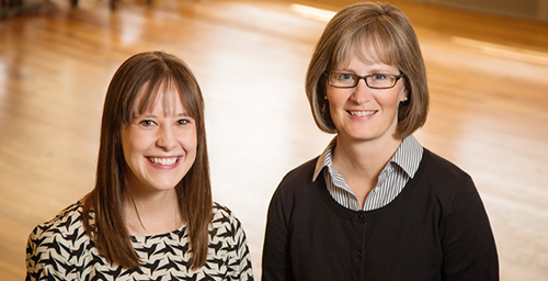 Social support may be critical to some women's weight-loss and maintenance efforts, according to a new study by (from left) graduate researcher Catherine J. Metzgar and professor Sharon M. Nickols-Richardson, both in the department of food science and human nutrition.