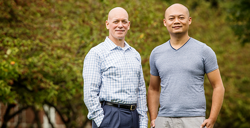 Viewing 3-D videos of tree-lined residential streets significantly aids in people's recovery from stressful events, according to research by lecturer Bin Jiang (right) and professor William C. Sullivan, both in the department of landscape architecture. (Not pictured) Linda Larsen, an instructor of English, and landscape architecture graduate student Dongying Li were co-authors on a paper about the study.