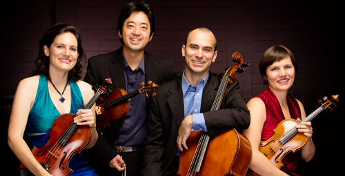 The Jupiter String Quartet will open a chamber music concert series at Krannert Art Museum. The members of the quartet are, from left, Liz Freivogel, Nelson Lee, Daniel McDonough, and Megan Freivogel.