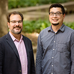University of Illinois entomology professor Andrew Suarez (left) and postdoctoral researcher Bill Wills discovered that big-headed worker ants grow larger in the presence of other competitive ants.