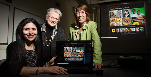 From left, postdoctoral research associate Henna Muzaffar, Extension specialist Jane Scherer and professor Karen Chapman-Novakofski  compared the efficacy of interactive and passive online media at helping teens with diabetes lead healthier lives.
