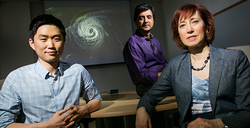An analysis of more than six decades of death rates from U.S. hurricanes by a team of University of Illinois researchers shows that severe hurricanes with a more feminine name result in a greater death toll. From left, Kiju Jung, a doctoral student in marketing in the U. of I.'s College of Business and the lead author on the study, and Madhu Viswanathan and Sharon Shavitt, both professors of marketing at Illinois.
