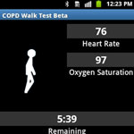 A screenshot of the GaitTrack app, which monitors how heart and lung patients walk, a key metric for physicians.