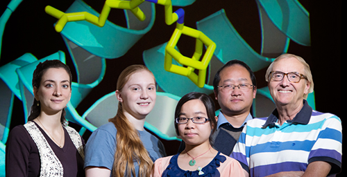 University of Illinois chemists developed analogs of a new tuberculosis drug that could treat many other diseases and defy resistance. From left, research scientist Lici A. Schurig-Briccio, undergraduate Shannon Bogue, graduate student Xinxin Feng, research scientist Kai Li and chemistry professor Eric Oldfield.