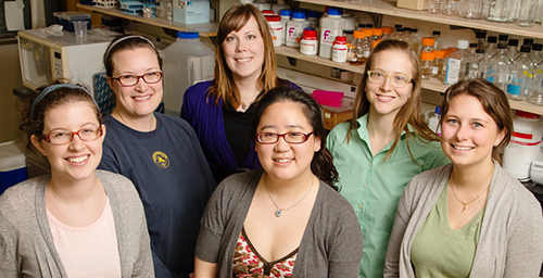 A new course co-developed by plant science professor Katy Heath teaches graduate students skills such as communicating about their research with nonscientists and developing educational outreach programs. Part of the Amplify the Signal course: graduate students, from left, front row, Cassandra Wesseln, Jennifer Han and Miranda Haus; back row, Rhiannon Peery, Christina Silliman and Heath.