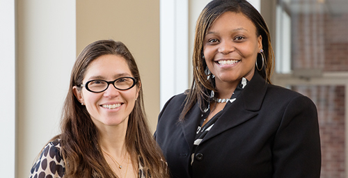 Infant mortality rates for black women are unlikely to decline sharply enough to achieve the federal government's targeted rate in 2020, according to a new study by alumnus Shondra Loggins, right, and Flavia Cristina Drumond Andrade, a professor of kinesiology and community health.
