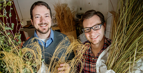 Steve Kostell, left, and Eric Benson, professors in the School of Art and Design, hope to change the paper industry with their Fresh Press project, using indigenous grasses and agricultural waste to make paper products.