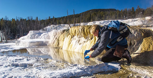 Study leader Bruce Fouke conducts research on microbes in extreme environments. His work in Yellowstone offers a basis for interpreting new research on subterranean microbes.