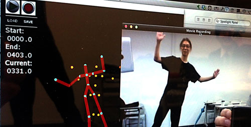 "Butoh dancer Jun Makime tests the motion capture equipment that will be used in ""Timings, an Internet Dance."""