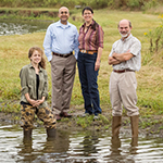 Samantha Carpenter, left, a wildlife technical assistant with the Illinois Natural History Survey; Kuldeep Singh, pathobiology professor at the U. of I. Veterinary Diagnostic Laboratory; Nohra Mateus-Pinilla, an INHS wildlife veterinary epidemiologist; and U. of I. animal sciences professor Jan Novakofski found that Illinois river otters are contaminated with banned pesticides and PCBs.
