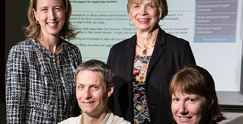 The Illinois New Teacher Collaborative has published a comprehensive online guide to help school districts develop and refine induction and mentoring programs for novice teachers. INTC staff members involved in the project include, from left, director Patricia Brady; outreach coordinator Jeff Kohmstedt; assistant director Nancy Johnson; and student Alexis Jones.