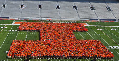 Members of the Class of 2017 pose for a photo at Memorial Stadium on Aug. 23. According to fall enrollment statistics released this week, there are 7,331 freshmen this year.