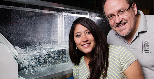 Researchers Tatiana Garcia, a graduate student, and civil and environmental engineering professor Marcelo Garcia developed a model that predicts how Asian carp eggs will disperse after spawning that will help resource managers develop strategies for preventing spread of the invasive species to the Great Lakes.
