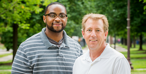 University of Illinois graduate student Marc Cook, left, kinesiology and community health professor Jeffrey Woods and their colleagues found that voluntary exercise on an exercise wheel reduced colitis symptoms and pro-inflammatory gene expression in a mouse model of colitis. Forced (moderate) running on a treadmill had the opposite effect.