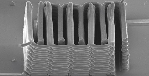 For the first time, a research team from Harvard University and the University of Illinois at Urbana-Champaign demonstrated the ability to 3-D-print a battery. This image shows the interlaced stack of electrodes that were printed layer by layer to create the working anode and cathode of a microbattery.