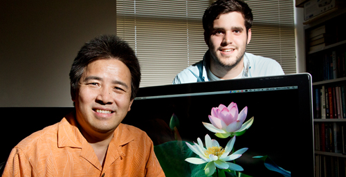University of Illinois plant biology professor Ray Ming, left, graduate student Robert VanBuren and their colleagues sequenced the sacred lotus genome.