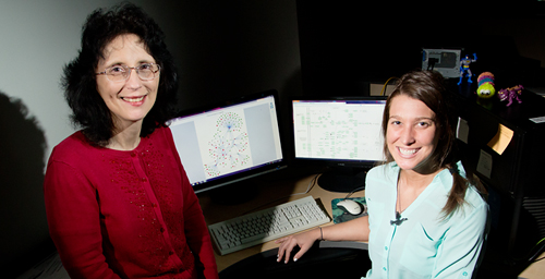 Illinois animal sciences professor Sandra Rodriguez-Zas, left, and graduate student Kristin Delfino identified biomarkers that are used to determine ovarian cancer survival and recurrence and showed how the interactions between these biomarkers affect these outcomes.