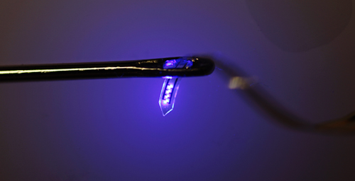 A thin plastic ribbon printed with advanced electronics is threaded through the eye of an ordinary sewing needle. The device, containing LEDs, electrodes and sensors, can be injected into the brain or other organs.