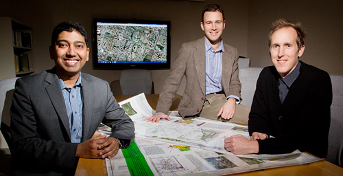 Urban and regional planning professor Arnab Chakraborty, left, and graduate students Robert Boyer, center, and Dustin Allred collaborated on a study of foreclosures from 2005 through 2008.