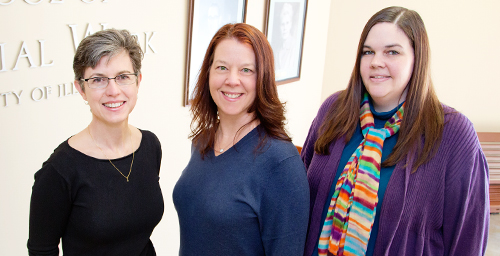 Child welfare agencies struggling to increase parent engagement and counter negative stereotypes might consider enhancing social workers' communication skills and creating public service announcements, suggests a new study by, from left, researcher Jill C. Schreiber, Tamara Fuller and Megan Paceley.