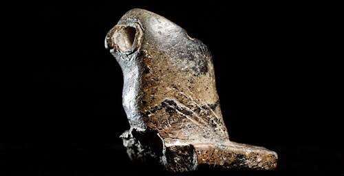 The Hopewell people used distinctive stone pipes, often with effigies on them, like this owl pipe found in an early village excavation in Illinois. Watch a slide show to see more pipes.