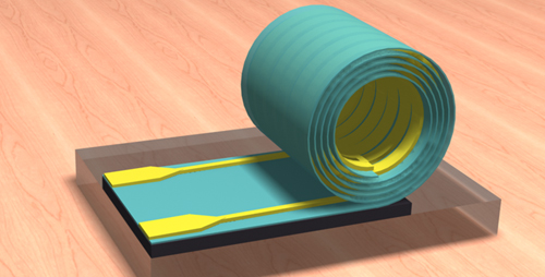 Illinois researchers developed a new design paradigm for inductors. Processed while flat, the inductors then roll up on their own, taking up much less space on a chip.