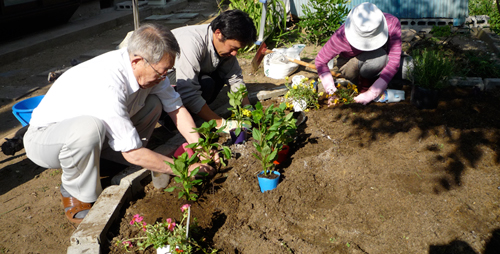 A volunteer (center) works with a married couple in Ishinomaki, a town in Miyagi prefecture, on reconstructing the garden outside their home after their residence and garden were damaged by the tsunami.