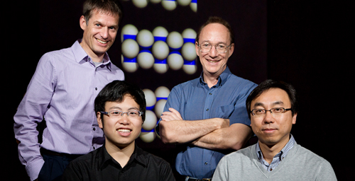 Researchers from the University of Illinois and Northwestern University demonstrated tiny spheres that synchronize their movements as they self-assemble into a spinning microtube. From left, Erik Luijten, Jing Yan, Steve Granick and Sung Chul Bae.